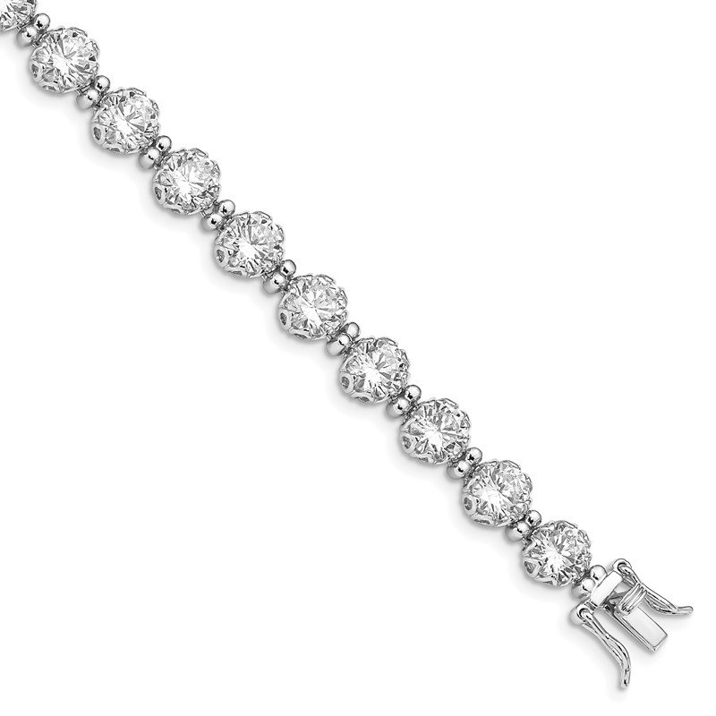 Quality Gold Sterling Silver Rhodium-plated 6mm Round CZ Tennis Bracelet
