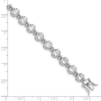 Sterling Silver Rhodium-plated 6mm Round CZ Tennis Bracelet