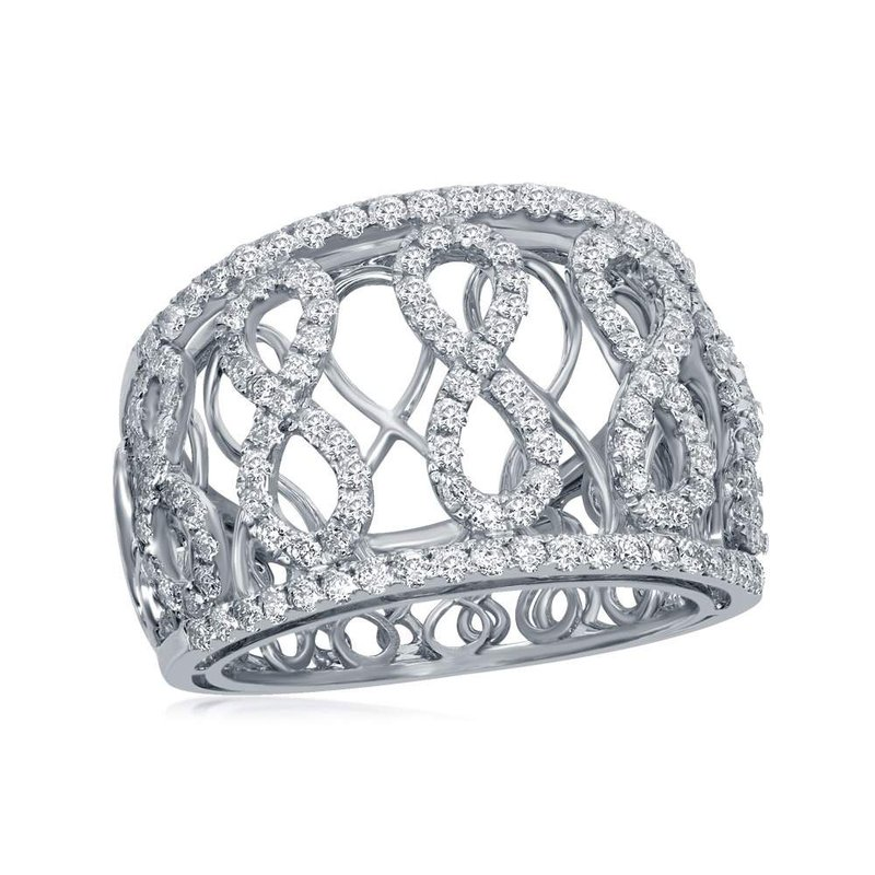 Gold-N-Diamonds, Inc. (Atlanta) 14kt White Gold Womens Round Diamond Vertical Infinity Fashion Band Ring 7/8 Cttw