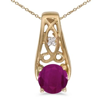14k Yellow Gold Round Ruby And Diamond Pendant