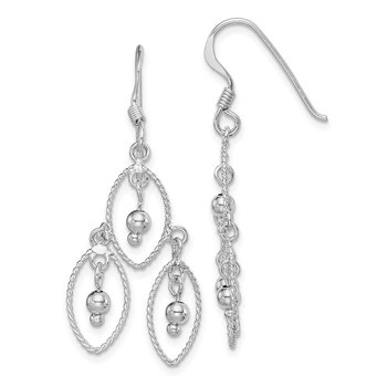 Sterling Silver Rhodium-plated Beaded Dangle Earrings