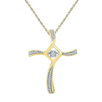 10kt Yellow Gold Womens Round Diamond Moving Twinkle Cross Faith Pendant 1/8 Cttw
