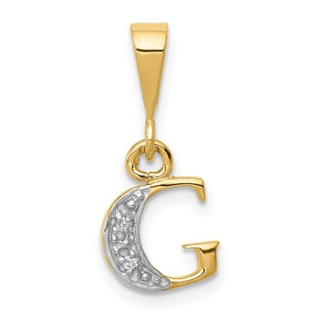 14KY with Rhodium Diamond Letter G Initial Pendant
