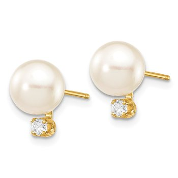 14k 7-8mm White Round Saltwater Akoya Cultured Pearl Diamond Post Earrings