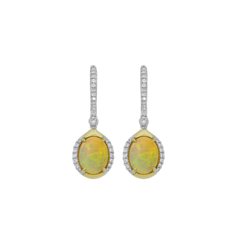 Opal & Diamond Dangle Earrings