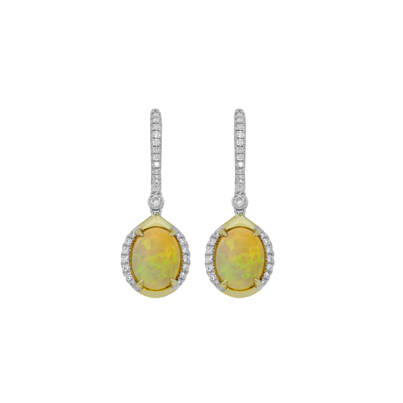 Spark Creations Opal & Diamond Dangle Earrings