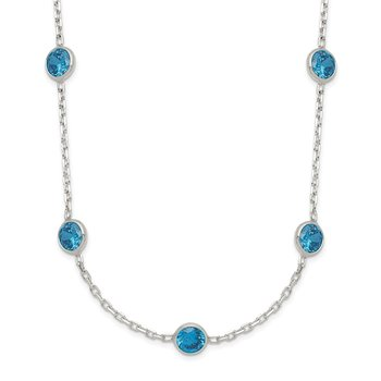Sterling Silver 9-Station Blue CZ Necklace