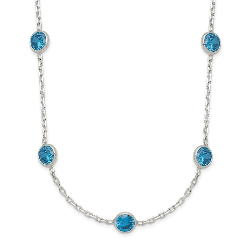 Quality Gold Sterling Silver 9-Station Blue CZ Necklace