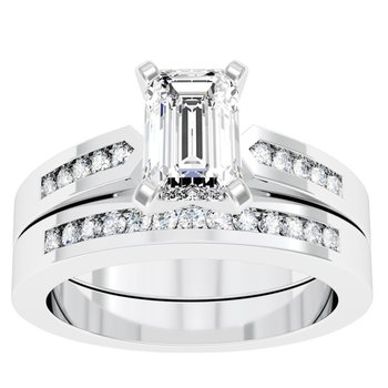 Channel Set Diamond Engagement Ring with Matching Wedding Band