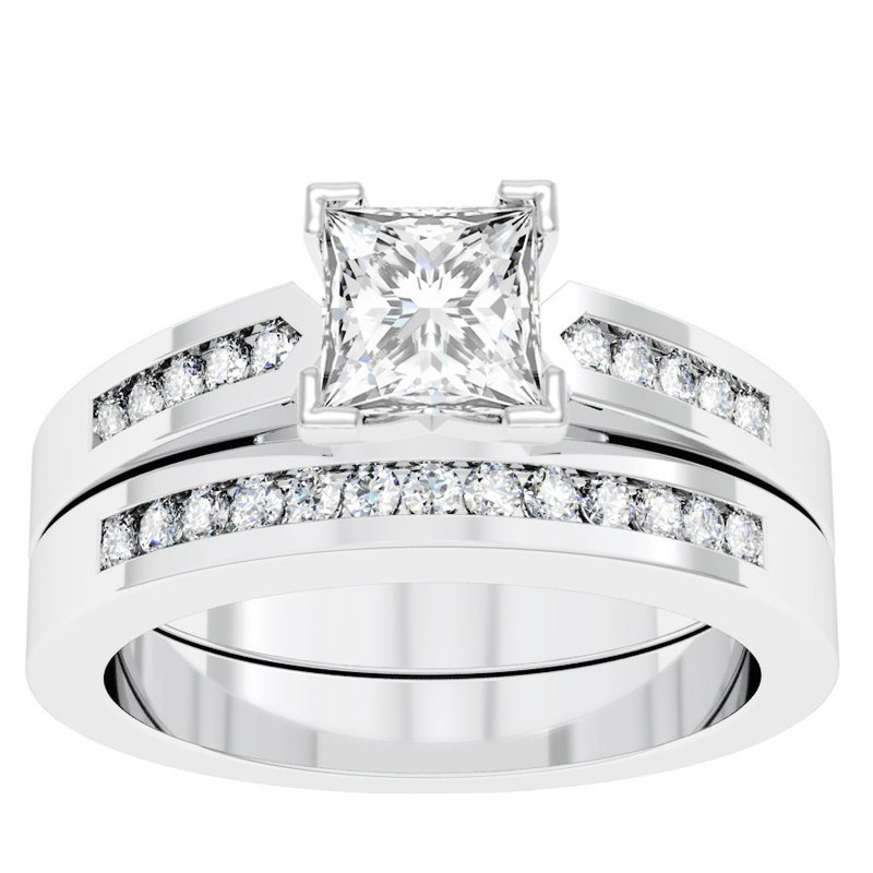 J.F. Kruse Signature Collection Channel Set Diamond Engagement Ring with Matching Wedding Band