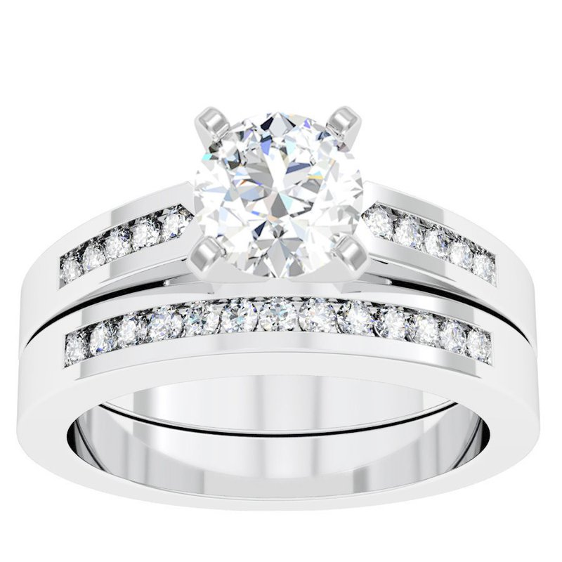 California Coast Designs Channel Set Diamond Engagement Ring with Matching Wedding Band