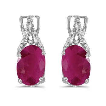 14k White Gold Oval Ruby And Diamond Earrings
