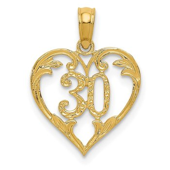 14k 30 in Heart Cut-out Pendant