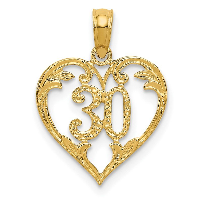 Quality Gold 14k 30 in Heart Cut-out Pendant