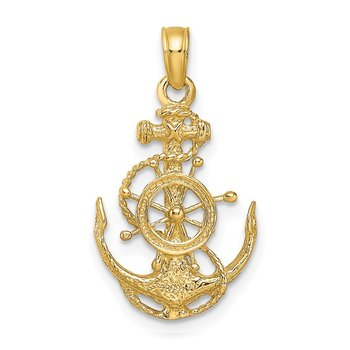 14k Small Anchor w/Wheel Pendant