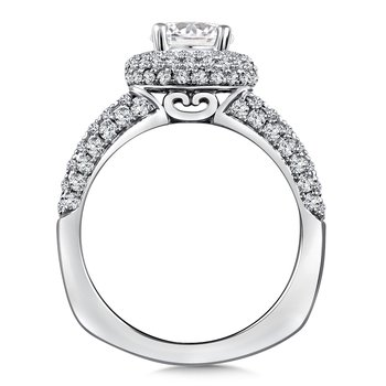Diamond Halo Engagement Ring Mounting in 14K White Gold (1.08 ct. tw.)
