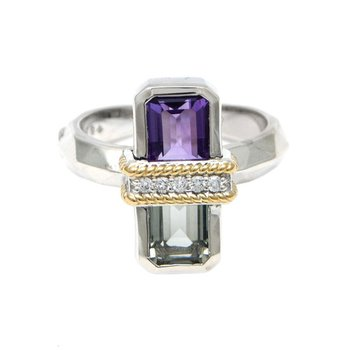 18kt and Sterling Silver Amethyst, Green Amethyst & Diamond Ring
