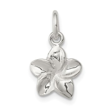Sterling Silver Polished Flower Pendant