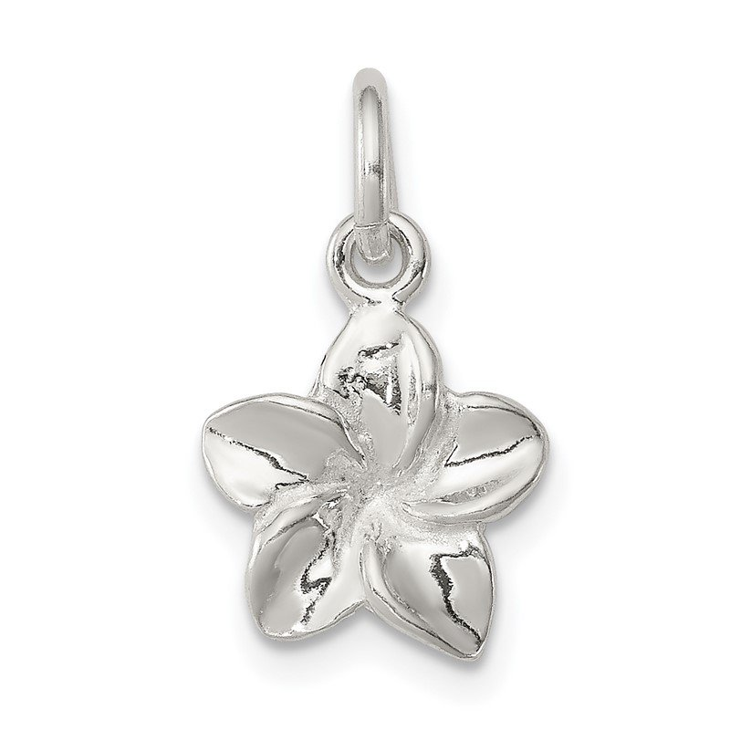 Quality Gold Sterling Silver Polished Flower Pendant