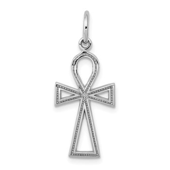 14k White Gold Ankh Cross Charm