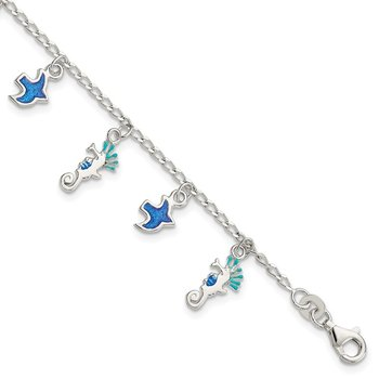 Sterling Silver Polished Enamel 4in Plus1in. Ext. Dangle Childs Bracelet