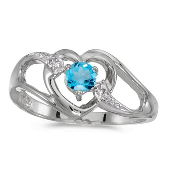14k White Gold Round Blue Topaz And Diamond Heart Ring