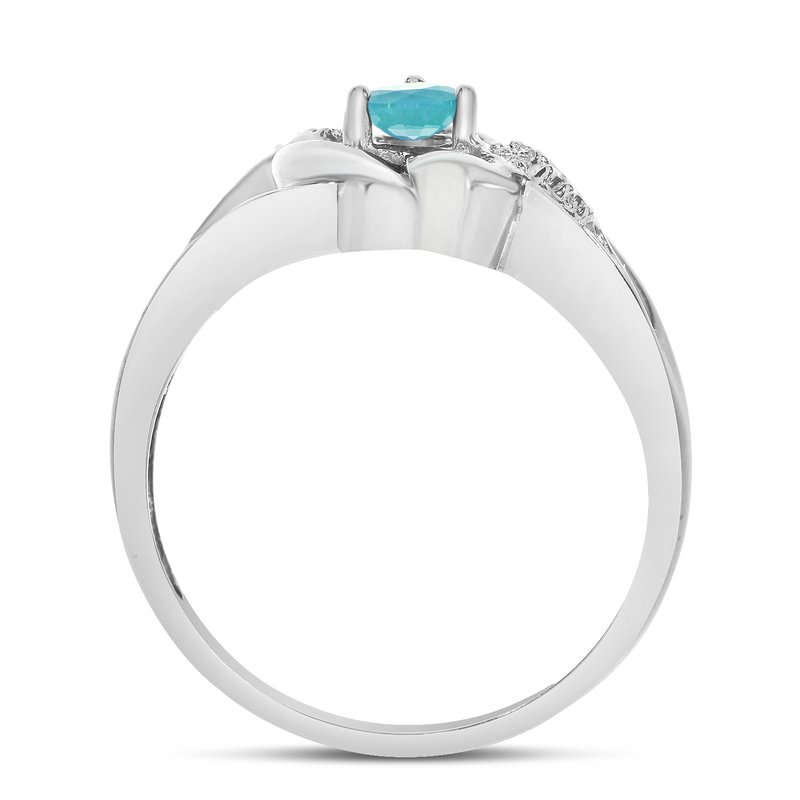 Color Merchants 14k White Gold Round Blue Topaz And Diamond Heart Ring