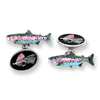 Sterling Silver Fly Fishing Chain Link Cufflinks-Black