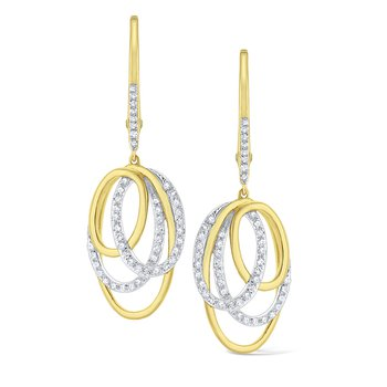 Diamond Intertwined Oval Earrings Set in 14 Kt. Gold