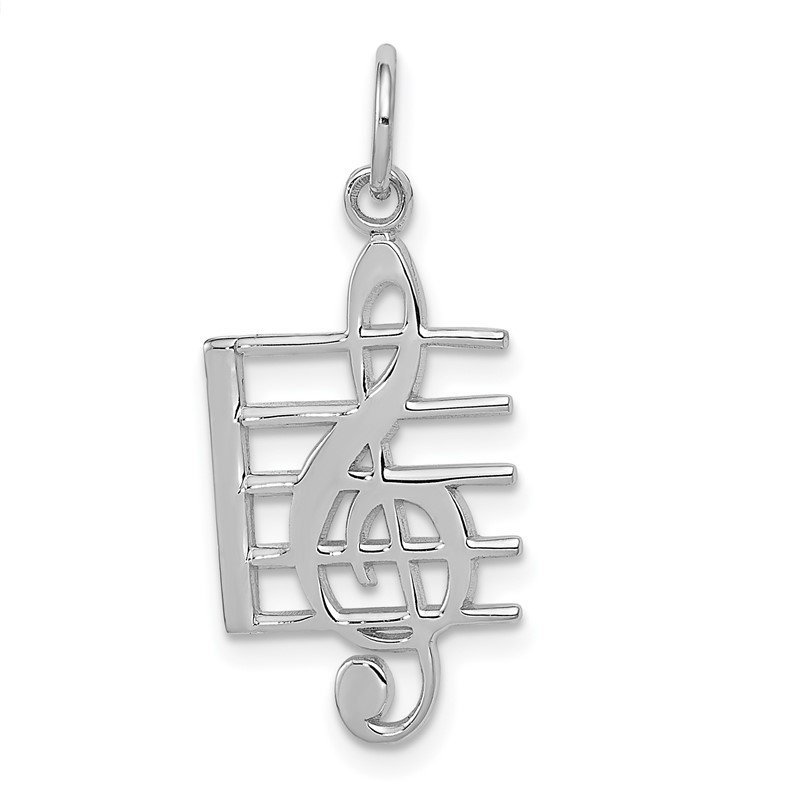 Quality Gold 14K White Gold Musical Staff Charm