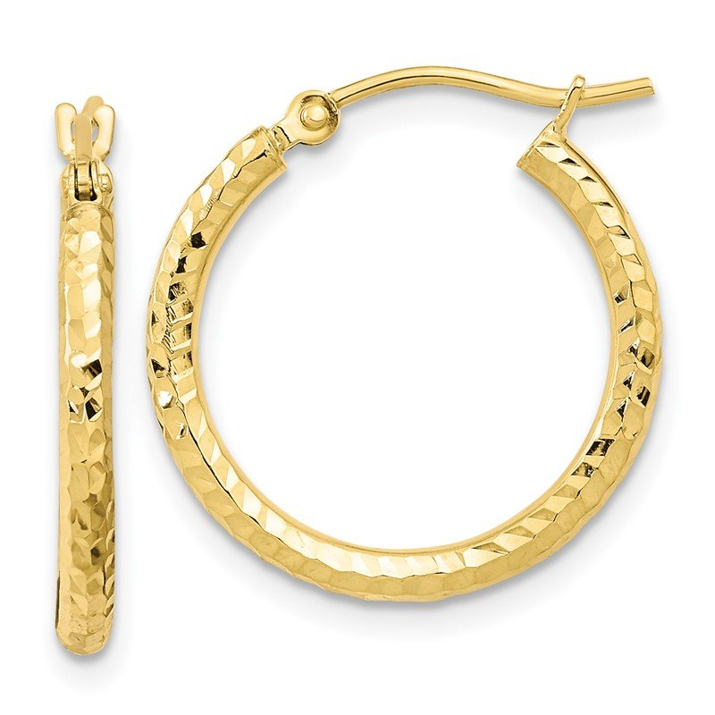 Quality Gold 10k Diamond-cut 2mm Round Tube Hoop Earrings