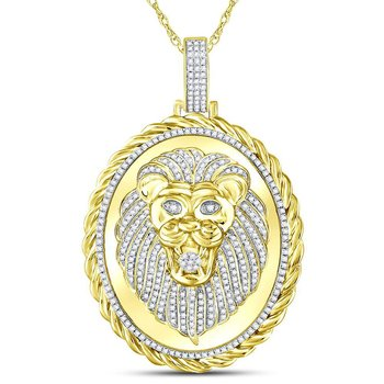 10kt Yellow Gold Mens Round Diamond Oval Lion Face Rope Charm Pendant 1.00 Cttw