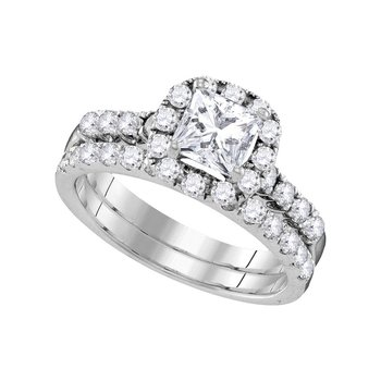 14kt White Gold Womens Princess Diamond Bridal Wedding Engagement Ring Band Set 1-7/8 Cttw