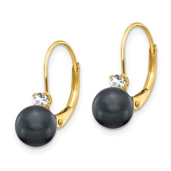 14k 6-7mm Black FW Cultured Pearl AA Diamond Leverback Earrings