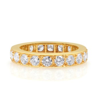 18kt Yellow Gold Bead Set Diamond Eternity Band