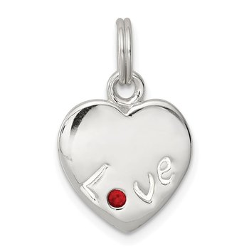 Sterling Silver Siam Stellux Crystal Love Heart Charm
