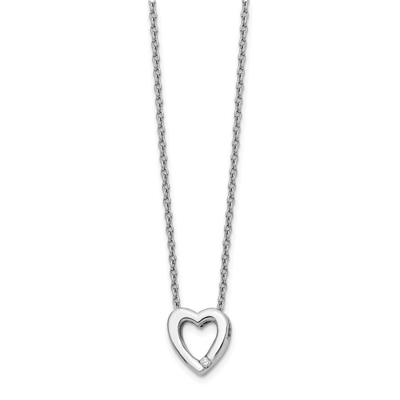 Quality Gold SS White Ice .02ct Diamond Heart Necklace