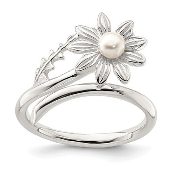 Sterling Silver Freshwater Cultured Pearl Flower Ring