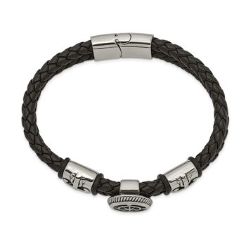 Stainless Steel Antiqued & Polished Black Leather w/Rubber 8.25in Bracelet