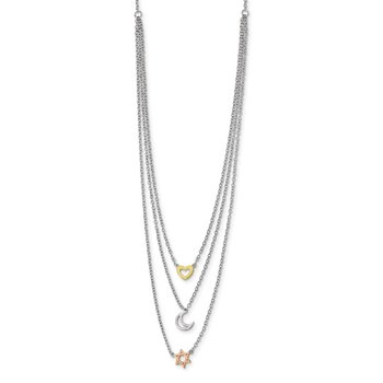 Sterling Silver RH-pltd Gold and Rose-tone Sun Moon Star Necklace
