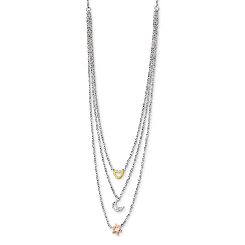 JC Sipe Essentials Sterling Silver RH-pltd Gold and Rose-tone Sun Moon Star Necklace