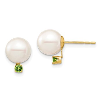 14K 8-8.5mm White Round Freshwater Cultured Pearl Peridot Post Earrings