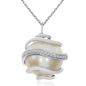 14K White Gold Caged Pearl and Diamond Pendant