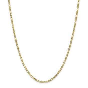 10k 2.5mm Semi-Solid Figaro Chain Anklet