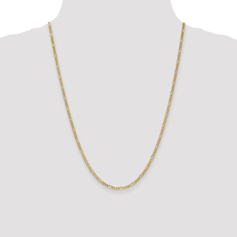 Quality Gold 10k 2.5mm Semi-Solid Figaro Chain Anklet