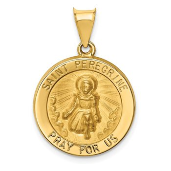 14k Polished and Satin St Peregrine Medal Hollow Pendant