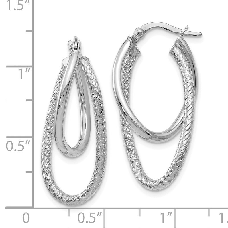 Leslie's Leslie's 14K White Gold Polished and Textured Hinged Hoop Earrings