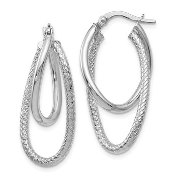 Leslie's 14k White Gold Polished and Textured Hinged Hoop Earrings