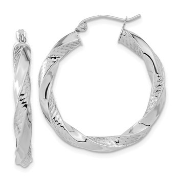 10K White Gold Polished & Textured Twist Hoop Earrings