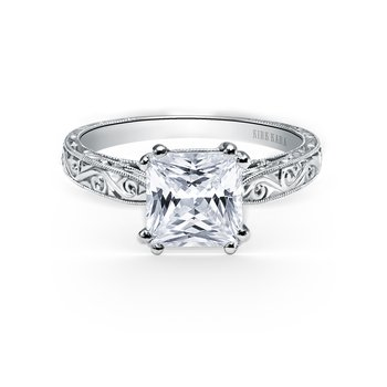 Engraved Vintage Engagement Ring